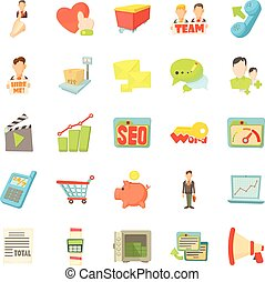 Bank account icons set, cartoon style