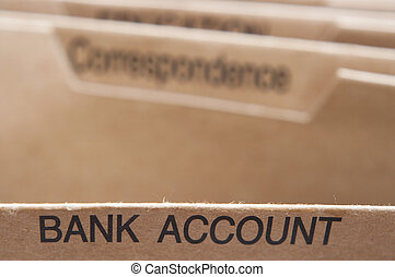 Bank Account section tab in folding file.