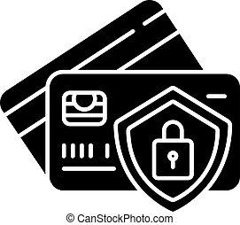 Bank account security black glyph icon. Money fraud ...