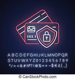 Bank account security neon light icon. Money fraud ...