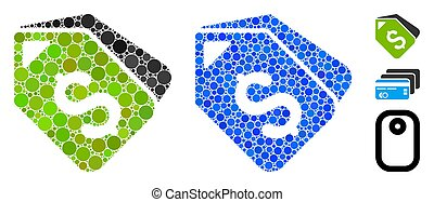 Bank Account Tags Composition Icon of Spheric Items - Bank...