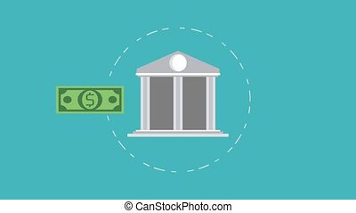 Bank and money HD animation