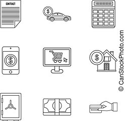 Bank and money icons set, outline style