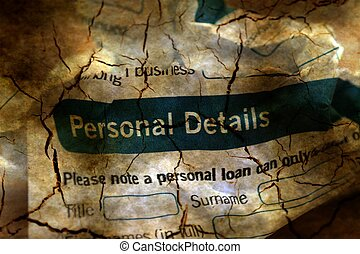 Bank application personal details