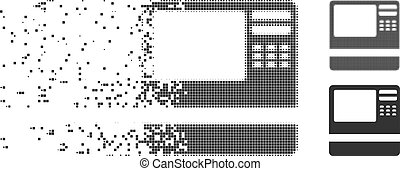 Bank ATM Dissolved Pixel Halftone Icon - Dissolved bank ATM...