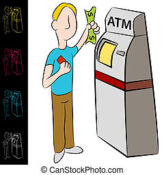 Bank ATM Money Kiosk Machine - An image of a man using a...