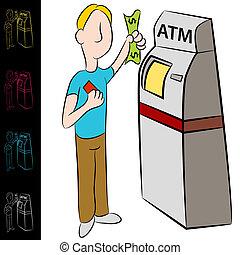 Bank ATM Money Kiosk Machine - An image of a man using a...