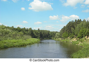 bank, av, den, flod