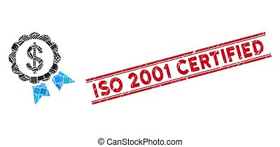 Bank Award Mosaic and Distress ISO 2001 Certified Watermark with Lines