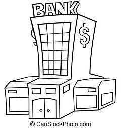 Bank - Black and White Cartoon illustration, Vector