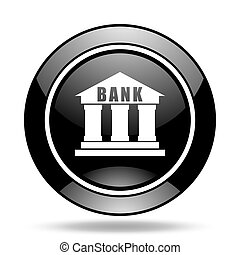 bank black glossy icon