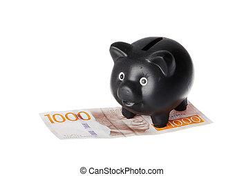 bank, black , piggy, bankbiljet