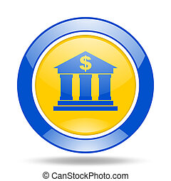 bank blue and yellow web glossy round icon