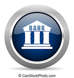 bank blue circle glossy web icon on white background, round button for internet and mobile app