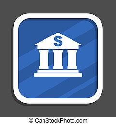 Bank blue flat design square web icon