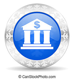 bank blue icon, christmas button