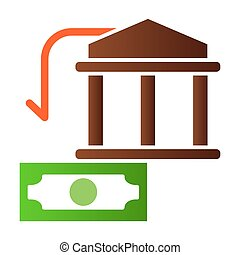 Bank building and dollar flat icon. Money color icons in trendy flat style. Finance gradient style design, designed for web and app. Eps 10.