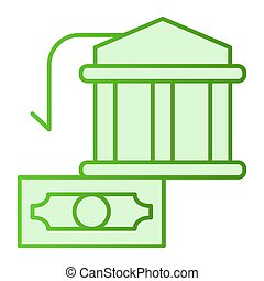 Bank building and dollar flat icon. Money green icons in trendy flat style. Finance gradient style design, designed for web and app. Eps 10.