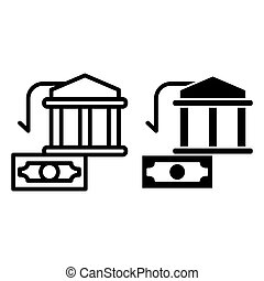 Bank building and dollar line and glyph icon. Money vector illustration isolated on white. Finance outline style design, designed for web and app. Eps 10.