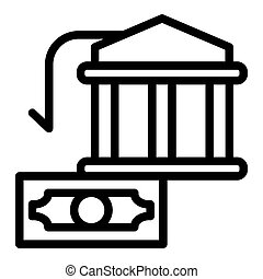 Bank building and dollar line icon. Money vector illustration isolated on white. Finance outline style design, designed for web and app. Eps 10.