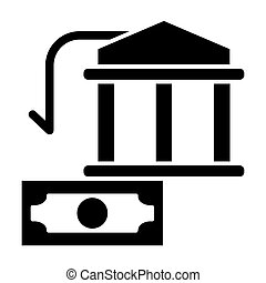 Bank building and dollar solid icon. Money vector illustration isolated on white. Finance glyph style design, designed for web and app. Eps 10.