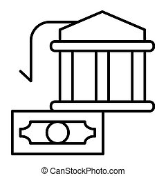 Bank building and dollar thin line icon. Money vector illustration isolated on white. Finance outline style design, designed for web and app. Eps 10.