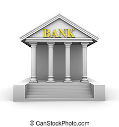Bank building on the white background (3d render)