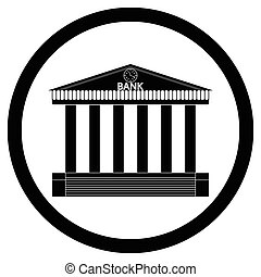 Bank building black silhouette icon