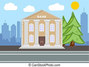 Bank building. City landscape concept. Flat design. Vector illustration.