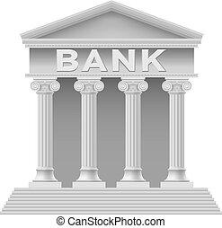 Bank building symbol. Illustration on white background