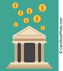bank building currency dollar design
