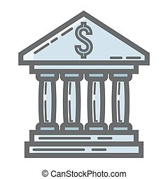 Bank building filled outline icon, business