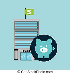 bank building finance piggy icon graphic