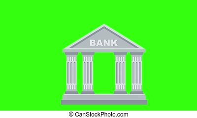 Bank building flat icon. Classic view of building of financial institution. 2D animation on on Green Screen. Chromakey background. Video footage.