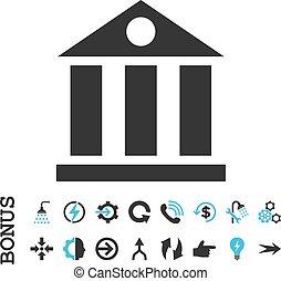 Bank Building Flat Vector Icon With Bonus