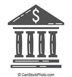 Bank building glyph icon, business and finance