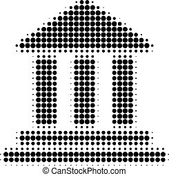 Bank Building Halftone Dotted Icon