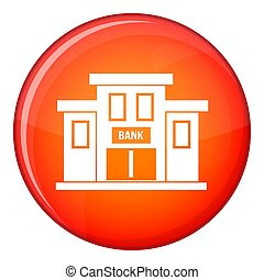 Bank building icon, flat style