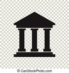 Bank building icon in flat style. Museum vector illustration on isolated background.