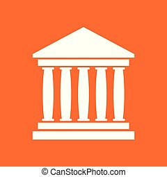 Bank building icon in flat style. Museum vector illustration on orange background.