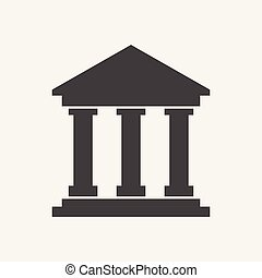 Bank building icon in flat style. Museum vector illustration on white background.