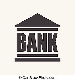 Bank building icon in flat style. Vector illustration on white background.