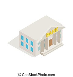 Bank building icon, isometric 3d style