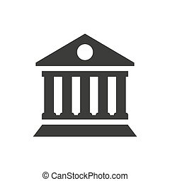 Bank building icon on white background.
