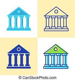 Bank building icon set in flat and line style