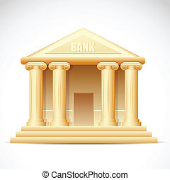 Bank Building - illustration of bank building on white ...