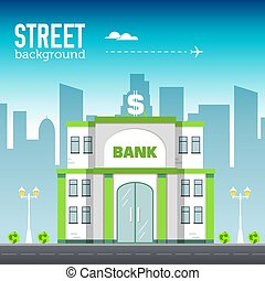 bank building in city space with road on flat syle background concept. Vector illustration design