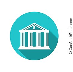 Bank building in the style of a classical Greek temple, flat icon with long shadow