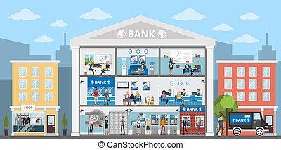 Bank building interior. City building in urban landscape....