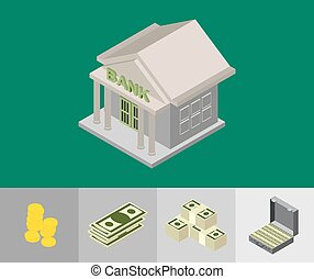 bank building isometric icons for w